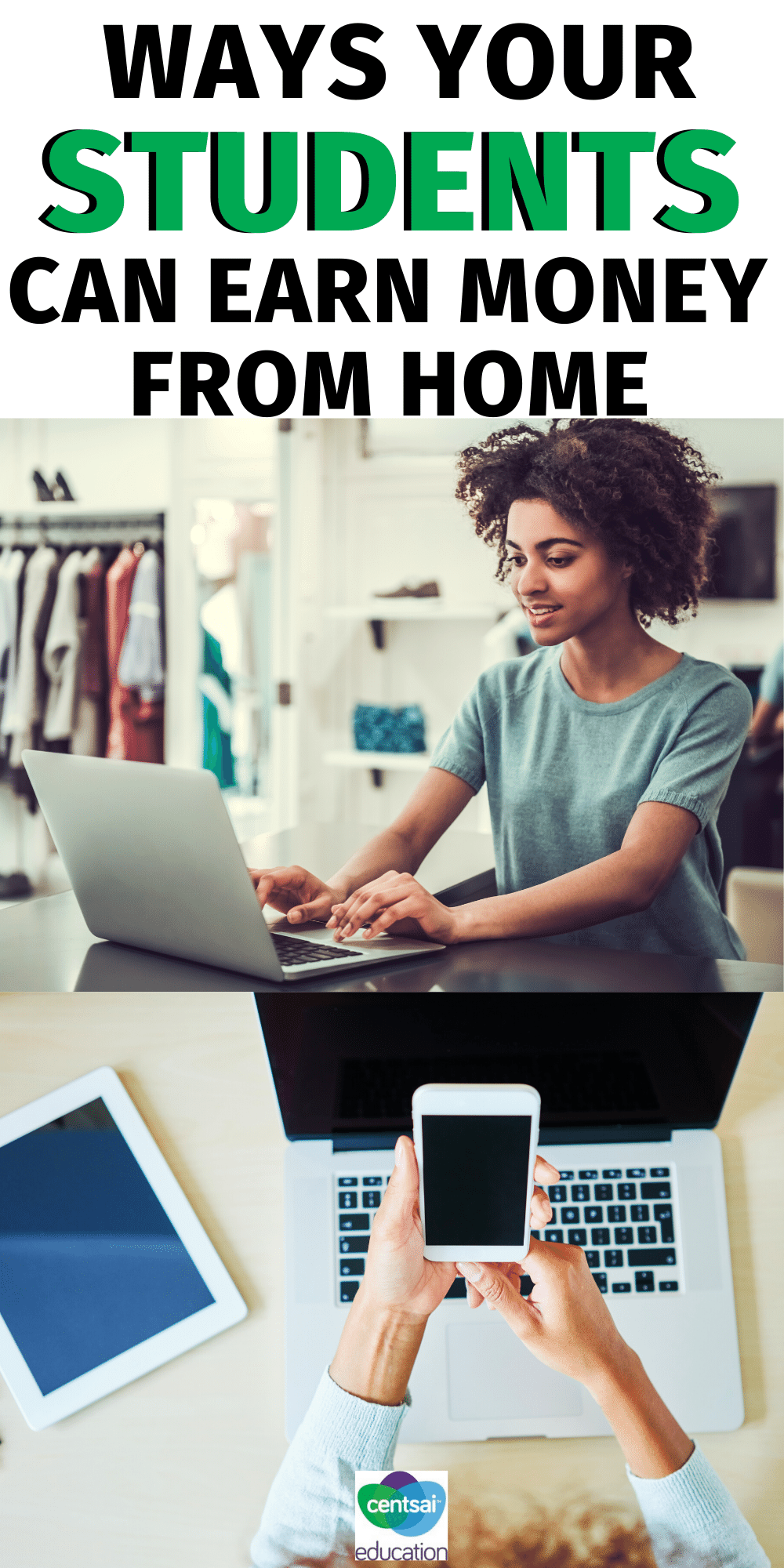 This is a great list of ways your students (or you!) can work from home and earn some extra cash.