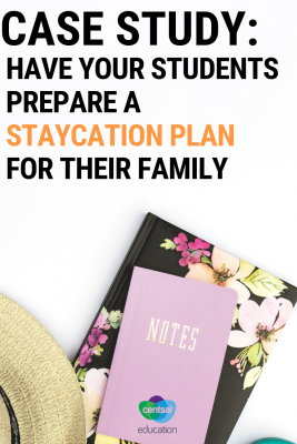 Top ideas to give your students for planning a staycation when a family vacation isn't a possibility. Give them a budget and let them plan a fun but frugal staycation for their family.