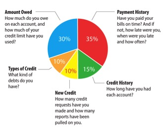 The Importance of Having Good Credit - What affects your credit score pie chart