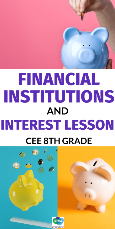 A CEE 8th grade standard financial literacy lesson on financial institutions and interest. Give your students a personal finance edge with this fun, colorful, FREE worksheet. #CentSaiEducation #loanrepaymentplan #loanrepayment