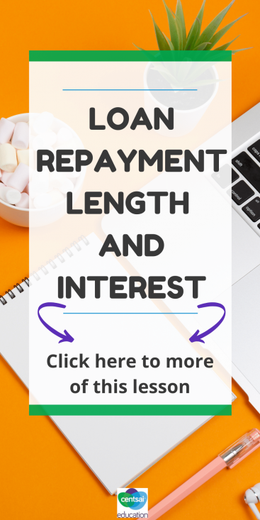 Loan repayment lengths and interest rates can be tricky topics to cover, but our free downloadable worksheet will make certain your students come away experts. #CentSaiEducation #loanrepaymentplan #loanrepayment
